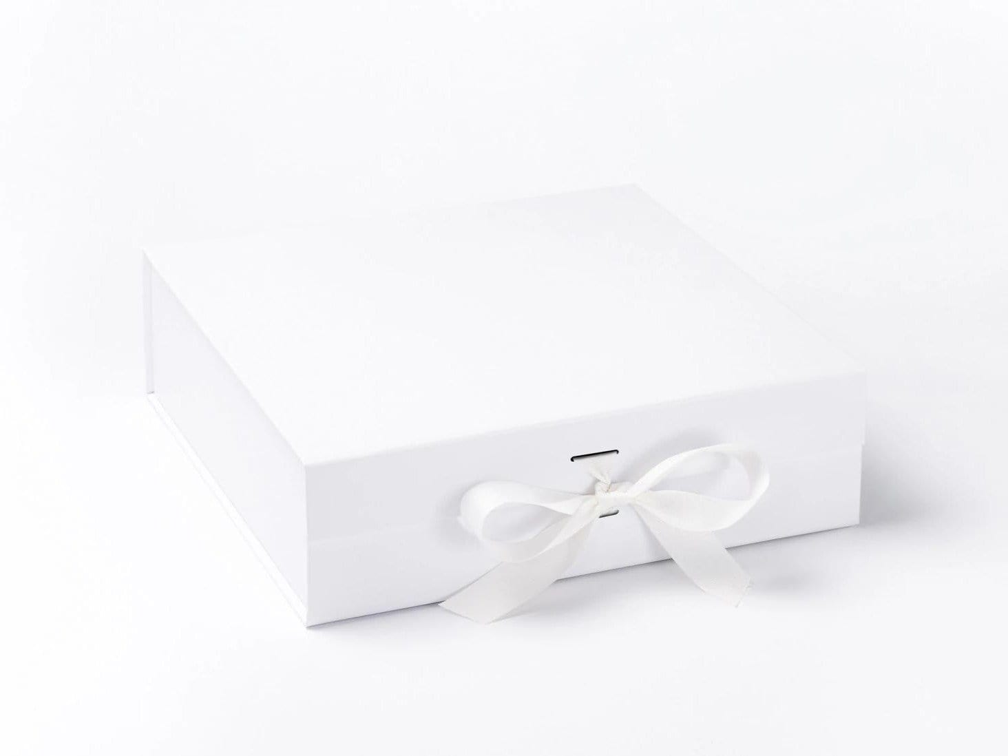 Large White Slot Gift Box with Changeable Ribbon from Foldabox UK