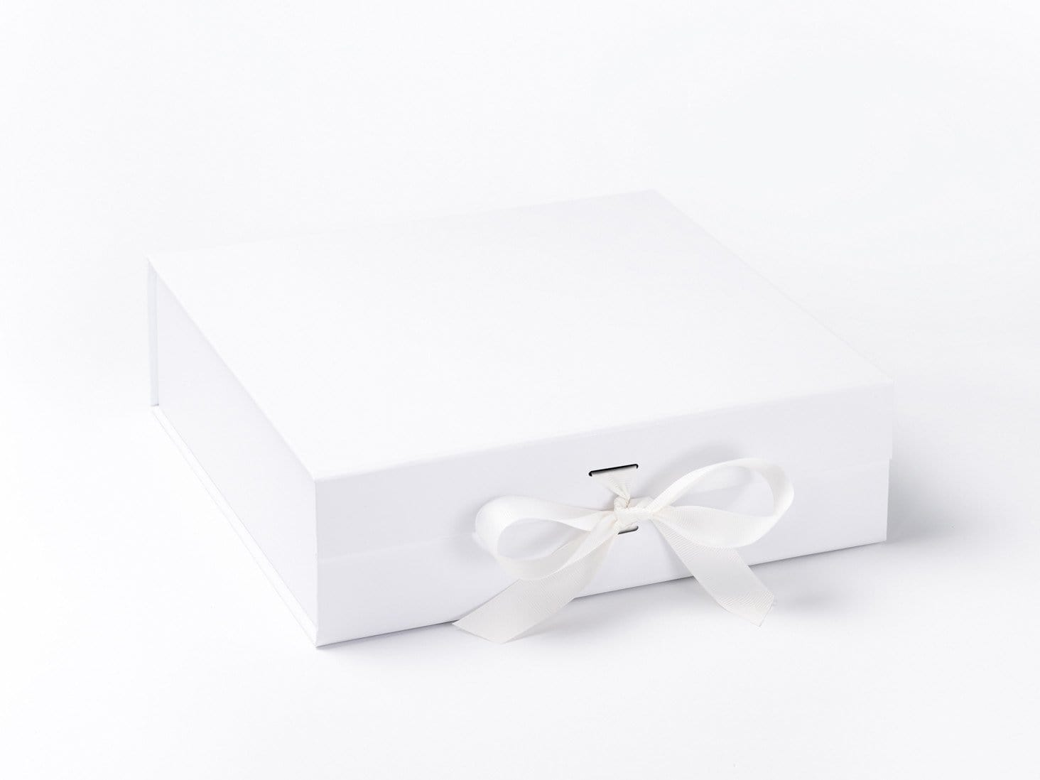 Large White Folding Gift Box or Keespake Box Sample with changeable ribbon