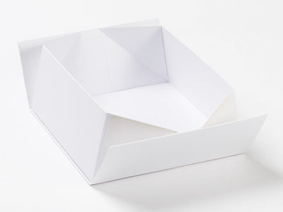 White Lift Off Lid Folding Gift Box Base Part Assembled from Foldabox