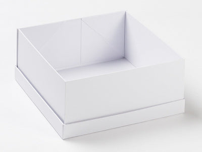 White Lift Off Lid Gift Box With Lid Assembled Under Base