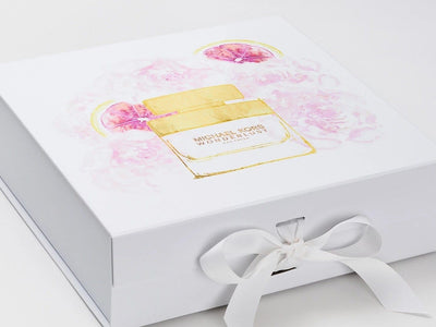 White Gift Box with Custom MK Design Digitally Printed to the Lid