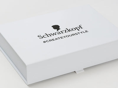 White Folding Gift Box with Black Custom Printed Logo