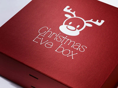 Red Gift Box featuring custom printed white design