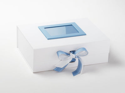 White Gift Box Featuring Pale Blue Saddle Stitched Ribbon Double Bow and Pale Blue Photo Frame