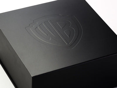 Black Folding Gift Box with Custom Debossed Logo to Lid