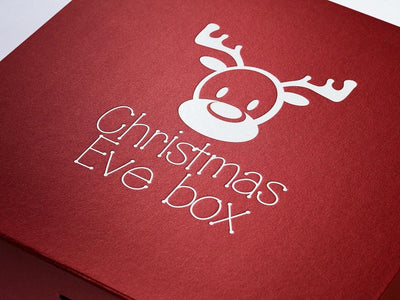Custom Printed White Logo Design to Lid of Red Gift Box