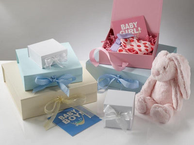 Baby Keepsake and Memory Gift Boxes in White, Ivory, Pink and Blue