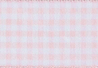 Foldabox UK Sample Pale Pink & White Gingham ribbon 80cm length
