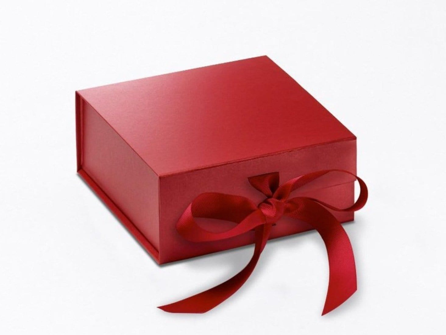 Small Red Folding Gift Boxes with Fixed Ribbon Ties