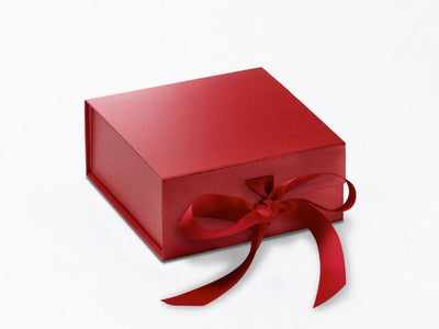 Red Small Folding Gift Box Sample with fixed grosgrain ribbon