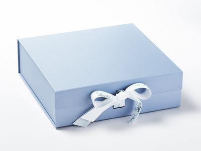 It's A Boy Blue Printed Ribbon Featured on Pale Blue Gift Box