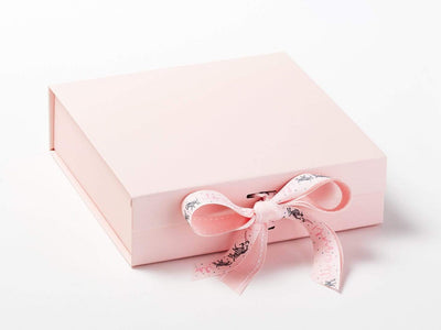 It's A Girl Pale Pink Printed Ribbon on Pink Gift Box