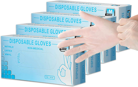 Non Powder Vinyl Gloves - 4 Boxes - Each Box has 100 Disposable Gloves - Glove Clear Transparent White Sterile For Cooking Cleaning Travel Diaper Changing