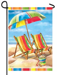 Beach Chairs and Umbrella Garden Flag
