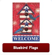 Bluebird themed decorative house flags