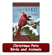 Christmas Pet Bird and Animal Garden Flags