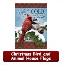 Christmas Bird and Animal House Flags