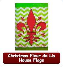Christmas Fleur de Lis House Flags