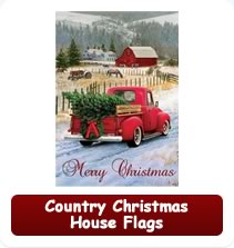Country Christmas House Flags