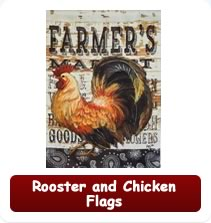 Decorative Rooster and Chicken Flags