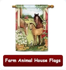 Farm Animal House Flags