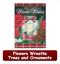 Decorative Flowers, Wreaths, Trees, Ornament Flags