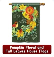 Pumpkin Floral and Fall Leaves House Flags