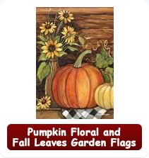 Pumpkin Floral and Fall Leaves Garden Flags