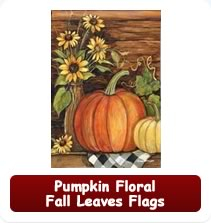 Pumpkin, Floral, Fall Leaves Flags