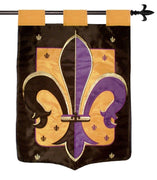Purple Black and Gold Fleur de Lis Double Applique House Flag