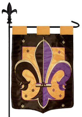 Purple Black and Gold Fleur de Lis Double Applique Garden Flag