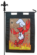 Burlap Crawfish Chef Garden Flag