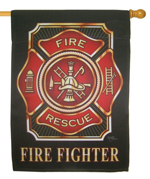 Firefighter Maltese Cross Sublimated House Flag