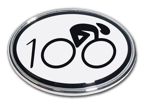 Cycling Oval Chrome Car Emblem 100 - Chrome Car Emblems | Trailer Hitch Covers/Cycling Marathon Triathlon Emblems - I AmEricas Flags