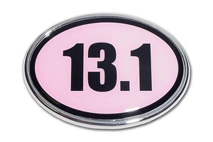 13.1 Half Marathon Pink and Chrome Car Emblem