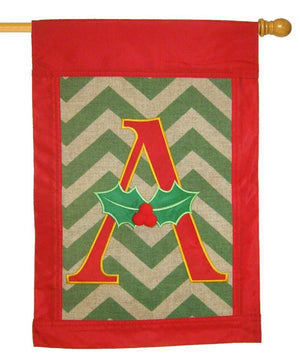 Burlap Christmas Monogram A Decorative House Flag