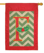 Burlap Christmas Monogram F Decorative House Flag