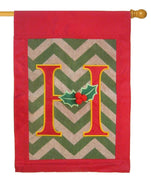 Burlap Christmas Monogram H Decorative House Flag