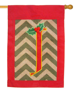 Burlap Christmas Monogram J Decorative House Flag