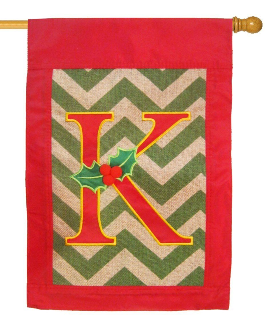 Burlap Christmas Monogram K Decorative House Flag