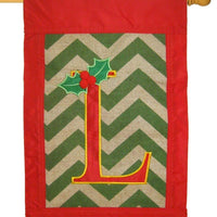 Burlap Christmas Monogram L Decorative House Flag