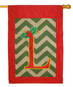 Burlap Christmas Monogram L Decorative House Flag - All Decorative Flags/Monogram Flags - I AmEricas Flags