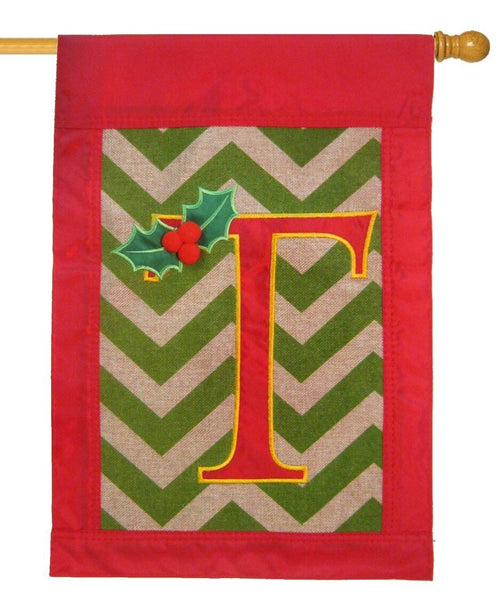 Burlap Christmas Monogram T Decorative House Flag