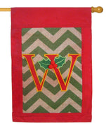Burlap Christmas Monogram W Decorative House Flag