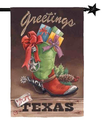 Greetings from Texas Suede Reflections House Flag