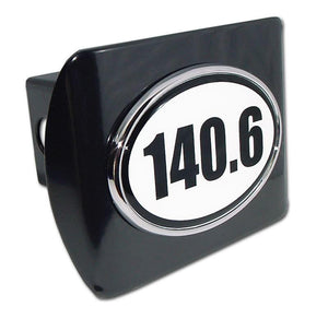 140.6 Ironman Triathlon Black Hitch Cover - Chrome Car Emblems | Trailer Hitch Covers/Cycling Marathon Triathlon Emblems - I AmEricas Flags