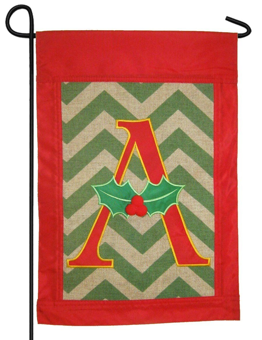 Burlap Christmas Monogram A Decorative Garden Flag