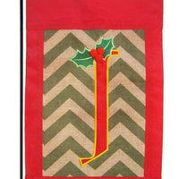 Burlap Christmas Monogram J Decorative Garden Flag