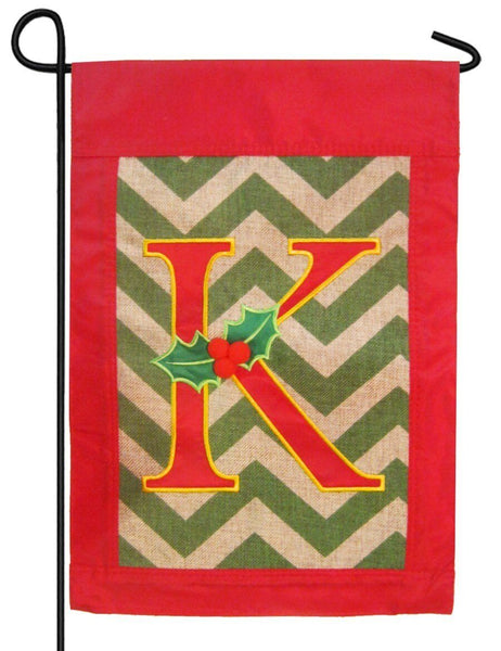 Burlap Christmas Monogram K Decorative Garden Flag