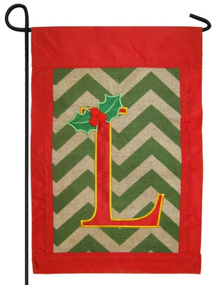 Burlap Christmas Monogram L Decorative Garden Flag
